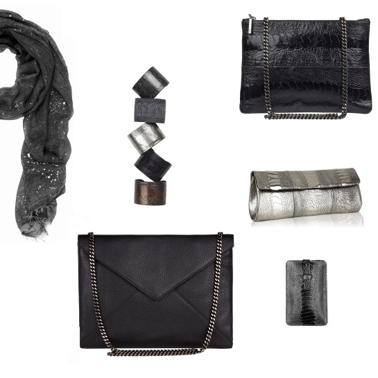 From left: Silver Splash scarf in Dark Grey; Ostrich cuffs; Lee bag in black ostrich with oxy chain; NB11 ostrich clutch in Sterling SIlver; smartphone cover in grey ostrich; Envelop bag in black leather with oxy chain; all available at www.naledibags.com.