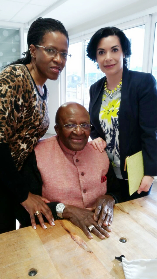 Naledi Copenhagen's Mary Sini meeting Archbishop Desmond Tutu and his daughter Mhpo Tutu