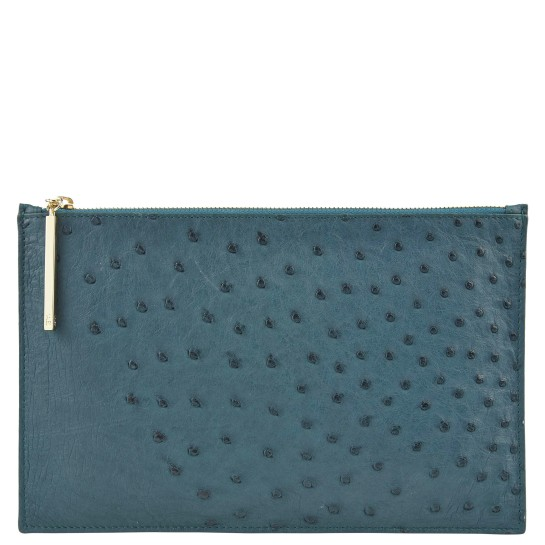 Naledi Copenhagen Leseli ostrich clutch in Dark Green
